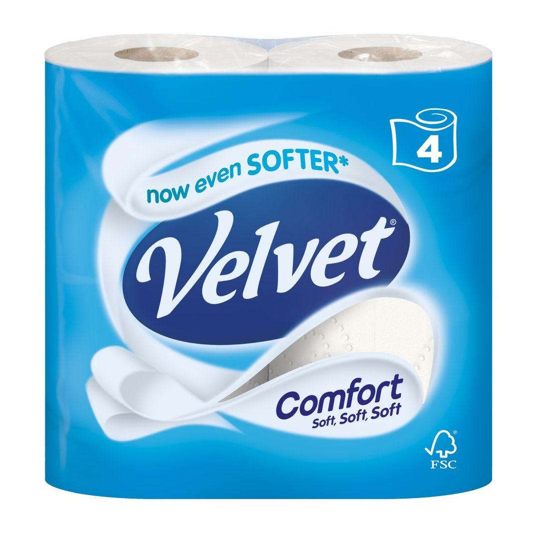 VELVET COMFORT 4 WHITE TOILET ROLLS